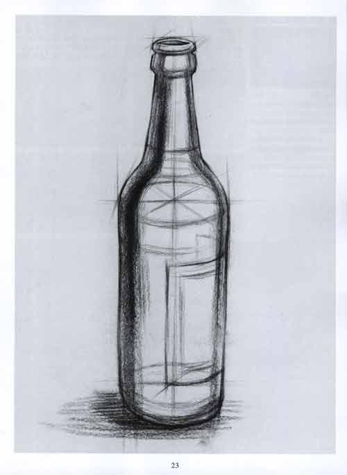 静物素描啤酒瓶步骤