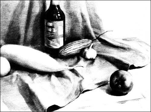 素描蔬菜组合步骤图片