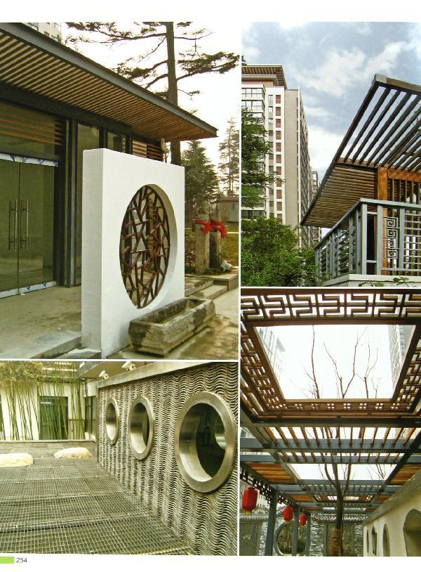 新中式庭院设计手绘图